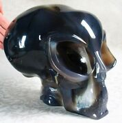 Awesome Geode Giant 7.1 Agate Carved Crystal Alien Skull W011