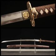 Japanese Dragon Sword Hand Forged Damascus Steel Clay Tempered Full Tang Blade