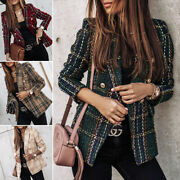 Womenand039s Slim Fit Double Breasted Blazer Coat Jacket Ladies Formal Lapel Jackets