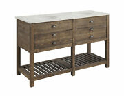 Coast To Coast Two Drawer Double Vanity Sink With Distressed Brown Finish 30449
