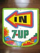 Rare 1970 Andrsquos 7up Fresh Up Petermax Vintage Embossed Steel Signboard Advertising