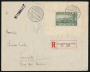 Luxembourg 1923 Registered Cover Franked 10fr Miniature Sheet Cat Andpound3250+.