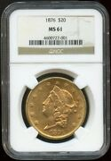 1876 20 Gold Liberty Double Eagle Ms 61 Ngc Better Date Nice Oirignal Surfaces