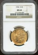 1932 10 Gold Indian Eagle Ms 64 Ngc Nice Pq Surafes And Color