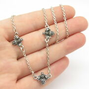 925 Sterling Silver Vintage Bee Rolo Chain Necklace 16