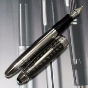 Montblac Fountain Pen Discontinued 146 Solitaire Carbon Steel 18k Nib F Pm0909