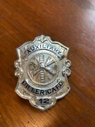 Early Obsolete Billerica Ma Sterling Silver Auxiliary Fire Dept. Badge 1910s