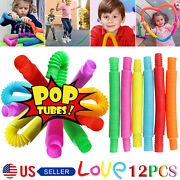 12pack Pop Tube Sensory Fidget Toys Kids Adults Stress Relief And Anti Anxiety Toy