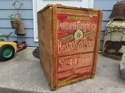 Antique Dwinell Wright Coffee Boston Wooden Box Crate Vintage Double Sided Rare