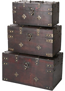 Montgomery Wooden Chest Set Of 3   Decorative Wood Storage Trunk With Brown