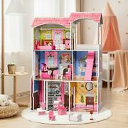 Wooden Dollhouse Furniture Doll Girls Playhouse Play House Child Toy Large Size