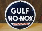 Vintage Original 1960and039s Gulf No-nox Knockproof Plate Single Sided Porcelain Sign