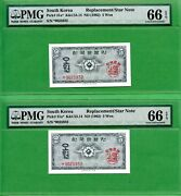 Korea 1962 P 31a Pmg 66 Epq 5won Star Note Replacement Note 2 Notes