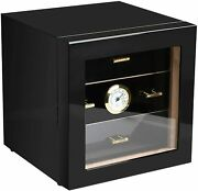 Cigar Humidor Tempered Glass With Front Mounted Hygrometer And Humidifier Wood