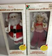 Vintage Telco Motionette Of Christmas Santa An Mrs Clause 17 Lights And Music