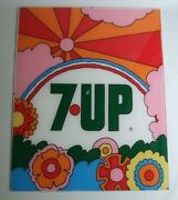 Rare 1970 Andrsquos 7up Fresh Up Petermax Vintage Acrylic Plate Signboard Advertising