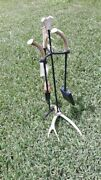 New Amish Usa Hand Crafted Wrought Iron Deer Antler Fireplace Tool Set