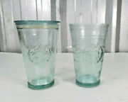 2 Starbucks Cold Cup Recycled Glass Tumblers - One With Lid - One Without- 16 Oz