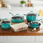 The Pioneer Woman Frontier 10 Piece Cookware Combo Set Pots Pans Stainless New