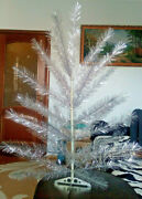 Vintage Ussr Artificial Christmas Tree. Aluminum Color. 38in. Very Rare.