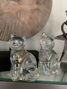 Iridescent Clear Carnival Glass Pair Of Cat Figurines