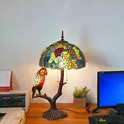 Style Grape Table Lamp Antique Parrot Stained Glass Shade