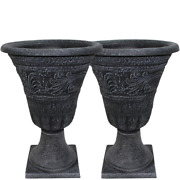 Tumbled Scroll 16 In. Weathered Black Resin Composite Urn Planter Pack 2 Pack