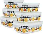 Sazaki Ceramic Food Storage Containers With Lids, Stackable Sealed Leak Proof 6