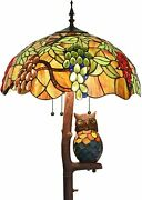 Style Stained Glass Floor Lamp With 18 Inches Wide Lampshade