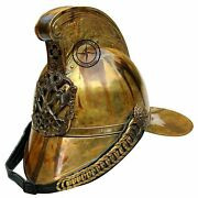 Antique British Firefighter Helmet French Firemans Leather Brass Reproduction