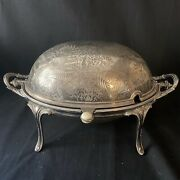 Antique James Dixon And Sons Sheffield Silverplate Rolling Serving Warming Dish