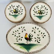 Vtg Mcm Hand Painted Rooster Oval Platter 13 1/4 X 9.5 + 10 Small Plates 6.5