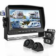 Backup Camera System With 9'' Large Monitor And Dvr For Rv Semi Box Truck Traile
