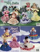 Lot Of 2 Crochet Pattern Books, Garden Party And Angel Dolls 13 Doll Clothes New