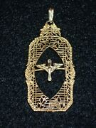 Wwi Us Army Air Service Home Front Sweetheart Pendant 14k Gold Winged Propeller