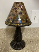 Partylite Global Fusion Decorative Mosaic Lamp W/ Shade Tea Light Candle Holder