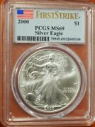 2000 1 American Silver Eagle Pcgs Ms69 Flag First Strike