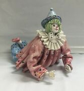 Vintage Porcelain Clown Glazed Figurine Made In Italy For Gumpand039s