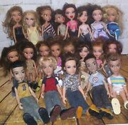 Bratz Dolls Vtg 2001 Mga Lot Of 16 Girls And 5 Boys 2003, 46 Shoe Pairs And Extras