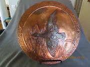Vintage 1961 Large Round Copper Hammered Picture-duck In Flight