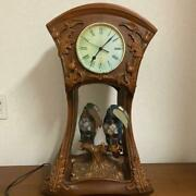 Rare Table Clock Wooden Stained Glass Bird Parrot Butterfly Lamp Table No.5636