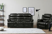 Bestmassage 3 Seater Manual Recliner Sofa Set Leather For Living Room Home