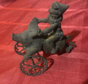 Rare Find Antique Cast Iron Clown Pig Gong Bell Pull Toy. 1895-1905. 5 1/2 Wide