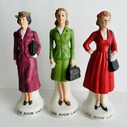 Vtg Set 3 Avon Ladyand039s 1980-82 Naac 1936 46 56 Club Bottles 8 Tall Collectible