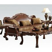 Acme Dresden Sofa With 3 Pillows In Brown And Cherry Oak Finish 15160