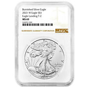 Presale - 2021-w Burnished 1 Type 2 American Silver Eagle Ngc Ms69 Brown Label