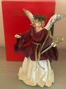 Vtg Clothtique Christmas Tree Topper Burgandy Angel With Harp Possible Dreams