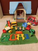 Vintage Little Tikes Large Blue Roof Doll House With Furniture People Car Van