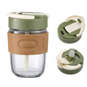 Iced Coffee Glass Tumblers Smoothie Cup With Lid And Straw Reusable Travel Mug