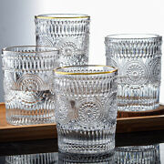 Retro Embossed Phnom Penh Glass Round Sun Flower Water Cup Cold Drink Juice Cup